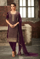 Purple Velvet Party Wear  Salwar Suit With Dupatta