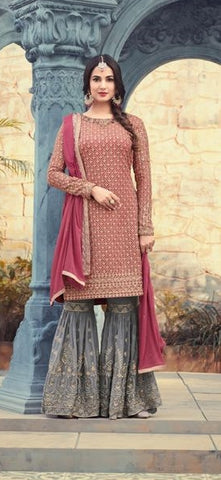 Red And Grey Georgette Sharara Type Salwar Kameez With Dupatta