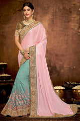 Peach Satin Georgette Party Wear Saree With  Green Blouse
