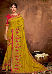 Mustard Yellow  Satin Georgette Party Wear Saree With Red Blouse
