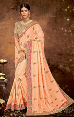 Peach Silk Georgette Party Wear Saree With Gold Blouse