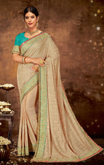 Beige Georgette Party Wear Saree With Blue Blouse