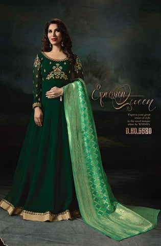 Dark Green Georgette Banarsi Anarkali With Green Dupatta