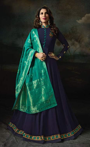 Navy Blue Georgette Banarsi Anarkali Suit With Blue Dupatta