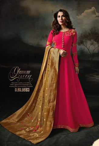 Red Georgette Banarsi Anarkali With Yellow Dupatta