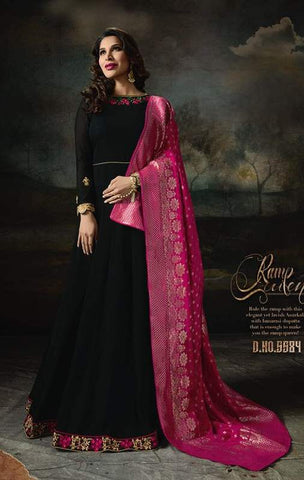 Black Georgette Banarsi Anarkali Suit With Pink Dupatta