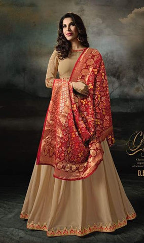 Beige Georgette Banarsi Anarkali Suit With Red Dupatta