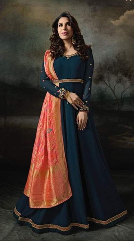 Cyan Georgette Banarsi Anarkali With Orange Dupatta