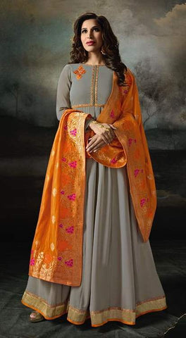 Grey Georgette Banarsi Anarkali Dress With Orange Dupatta