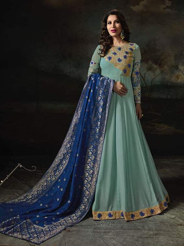 Blue Georgette Banarsi Anarkali Suit With Blue Dupatta