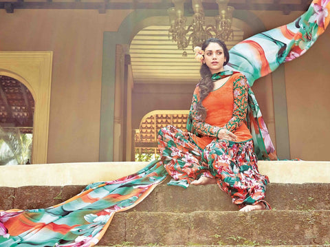 Patiyala suits Orange,cotton jaquard