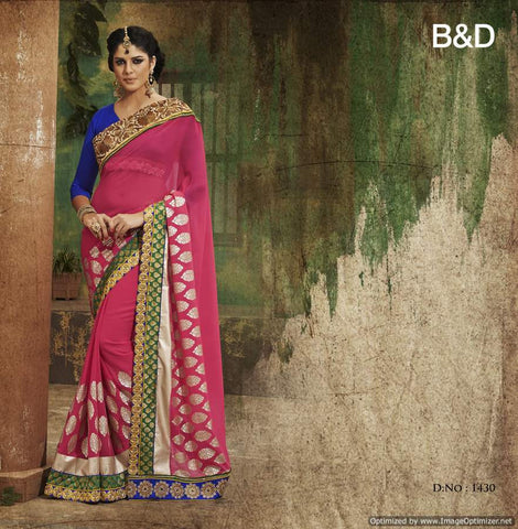 Pink and Blue Chiffon Saree with hand work and Embroidery