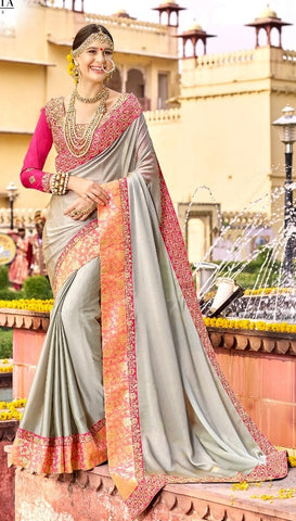 Grey Silk Saree With Embroidered Blouse