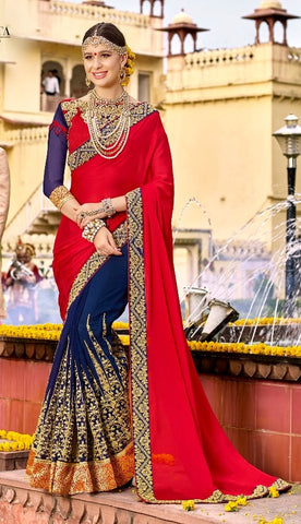 Heavy Red & Blue Georgette Saree With Blue Blouse