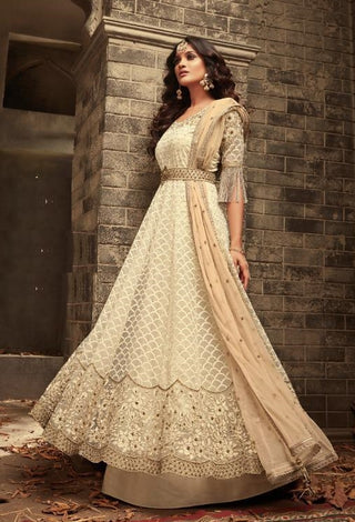 Cream Net Party Wear Anarkali Dress With Peach Dupatta