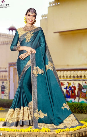 Cyan Silk Saree With Embroidered Blouse