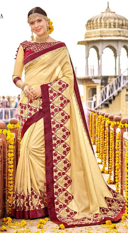 Heavy Beige Saree With Blouse