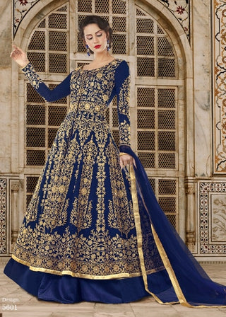Blue Silk Embroidered Front Slit Type Anarkali Suit With Dupatta