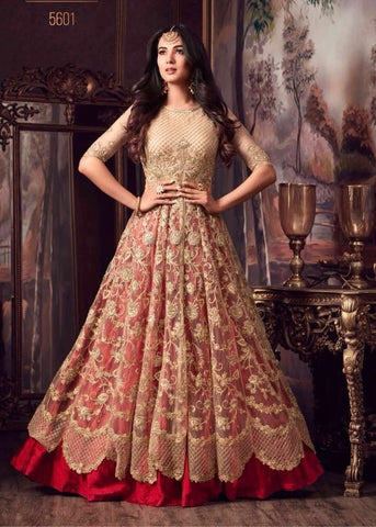 Net Beige and Red Anarkali Style Suit With Dupatta