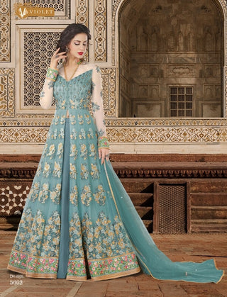 Aqua Blue Net Front Slit Type Anarkali Suit Along With Dupatta
