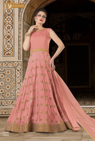 Peach Silk Poncho Style Anarkali Suit With Dupatta