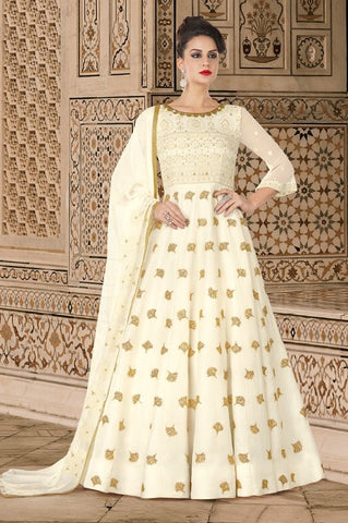 White  Georgette Anarkali Type Suit With Dupatta