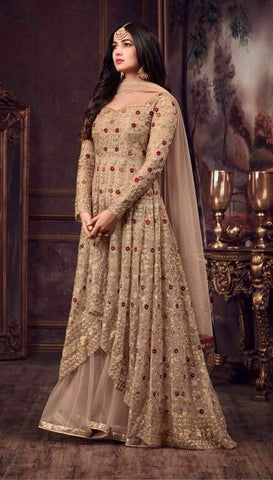 Beige Net Embroidery Gown Style Anarkali Dress With Dupatta