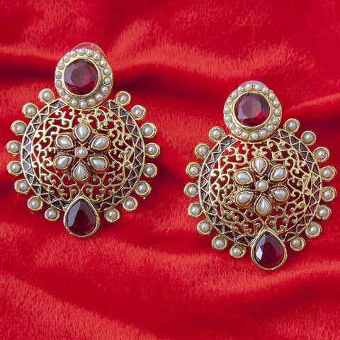 Designer Round Earrings with red beads ER_AC_E530