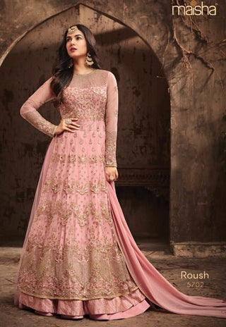 Pink Net Gown Style  Anarkali With Pink Dupatta