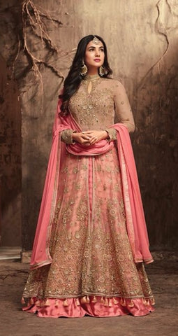 Golden Pink Net Gown Style  Anarkali Dress With Pink Dupatta