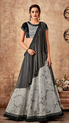 Grey Fancy Jacquard Party Wear Saree With Black Blouse