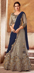 Grey Satin Party Wear Saree With Grey Blouse