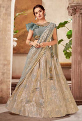 Grey Fancy Jacquard Party Wear Lehenga With Grey Choli And Grey Dupatta