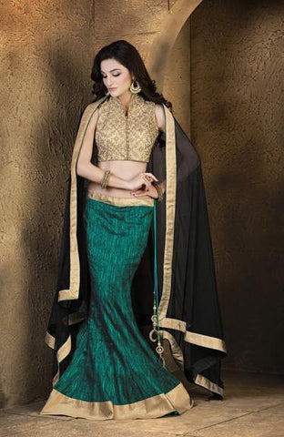 Cyan , Black,Jacquard,Designer party wear lehenga with heavy work