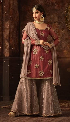 Maroon Net Sharara Salwar Suit With Beige Dupatta