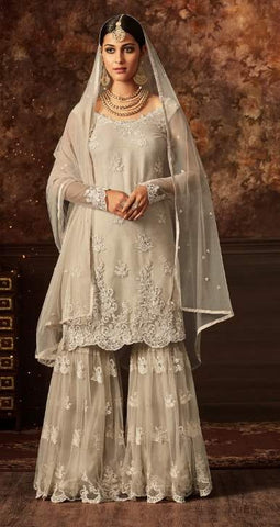 White Net Sharara Salwar Suit With White Dupatta