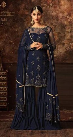Dark Blue Net Sharara Suit With Dark Blue Dupatta