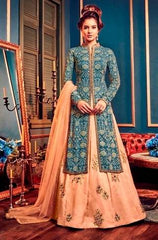 Peach Blue Georgette Party Wear  Anarkali Dress With Peach Dupatta