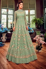 Green Net Party Wear  Anarkali Suit With Green Dupatta