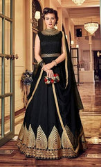 Black Silk Party Wear  Anarkali With Black Dupatta