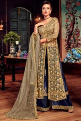Beige Blue Net Party Wear  Anarkali Dress With Beige Dupatta