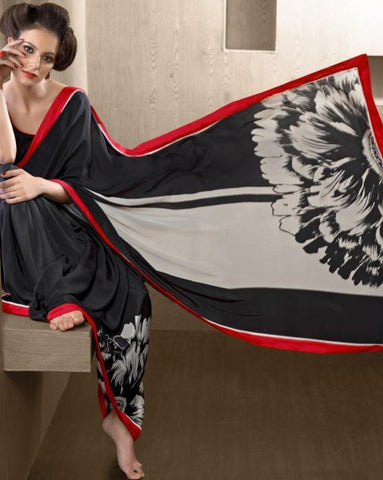 Black and white printed silk crepe saree with black blouse