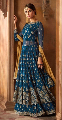 Blue Georgette Party Wear Anarkali Suit With Yellow Dupatta
