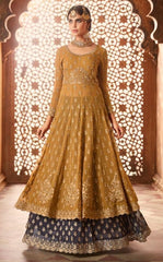 Yellow Georgette Party Wear Anarkali With Grey Dupatta