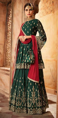 Green Georgette Sharara  Suit With  Dupatta