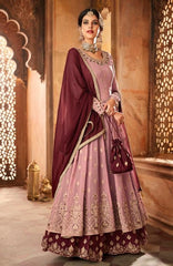 Pink Georgette Party Wear Anarkali Dress With Maroon Dupatta
