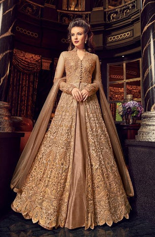 Golden Net Party Wear Anarkali With Golden Dupatta