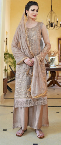 Golden Grey Organza  Party Wear Suit With  Dupatta