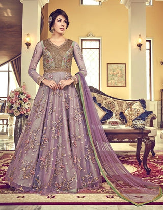 Purple Net Party Wear Anarkali With Purple Dupatta