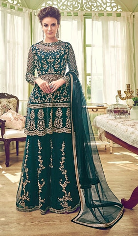 Dark Cyan Net Party Wear Anarkali Suit With Dark Cyan Dupatta